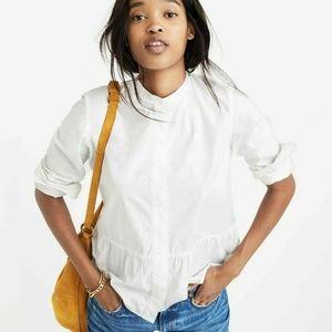 Madewell Lakeside Button Down Peplum Top in White